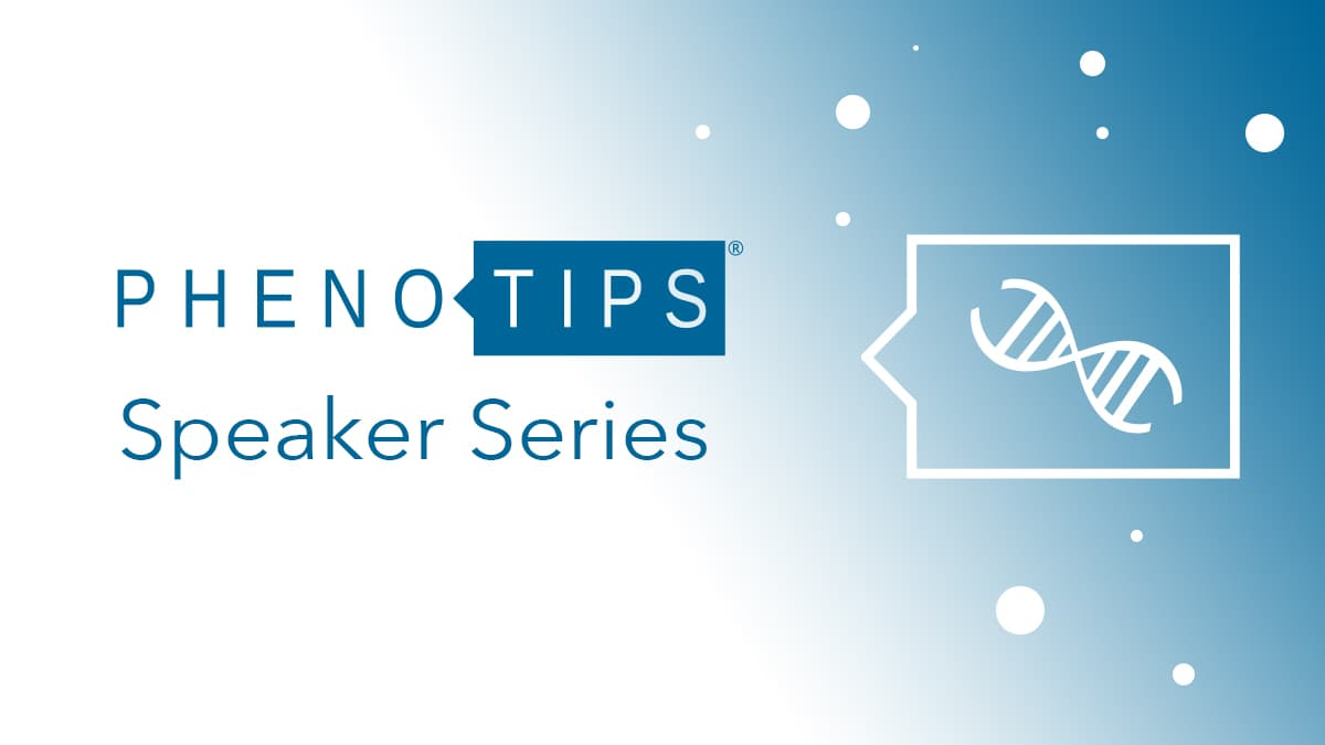 PhenoTips Speaker Series Logo looking ethereal on a faded blue backdrop